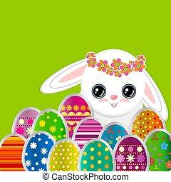 Salida de primavera con huevos de Pascua y un lindo conejito blanco. Imágenes de papel festivo de huevos decorados y conejo en un fondo verde. ¡Tarjeta de saludo Vector con la feliz Pascua!