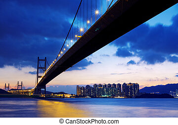 salida del sol, hongkong, encima, puente, largo