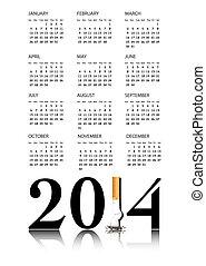 salir, calendario, fumar, 2014