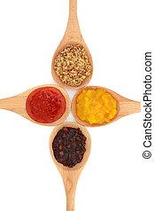 salmuera, mostaza, salsa, selección