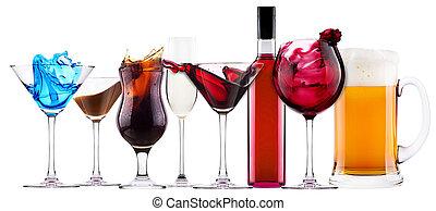 salpicadura, alcohólico, cóctel, conjunto