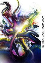 salpicadura, vívido, multicolor