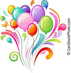 Salpicaduras coloridas con globos