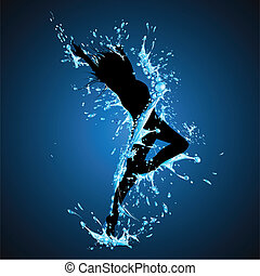 salpicar, dama, bailando