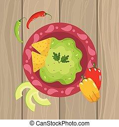 Salsa de comida mexicana con chile