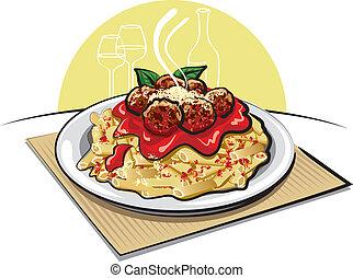 salsa de pasta, albóndigas
