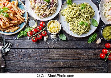 salsa de pasta, diferente, clases