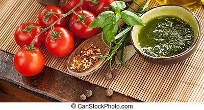 Salsa de pesto con verduras