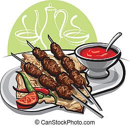 salsa de tomate, kebab