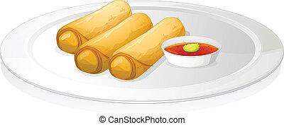 salsa, rollo, bread