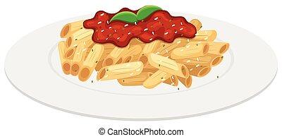 salsa, tomate, placa, penne, pastas