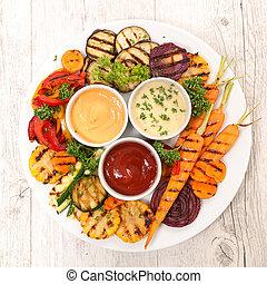 salsa, vegetal, asado parrilla, variado, inmersión