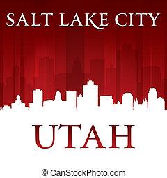 salt lake, plano de fondo, ciudad, utah, rojo, silueta