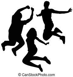 Salta siluetas. Tres amigos saltando.