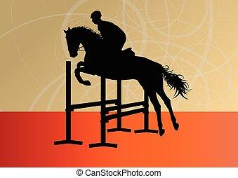 Saltando caballos con jinete vector deportivo ecuestre