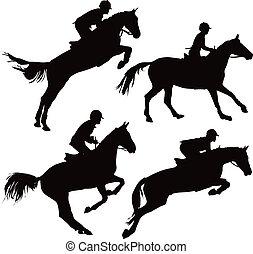 Saltando caballos con jinetes