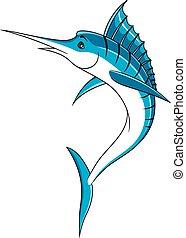 Saltando caricaturas de pez marlín azul