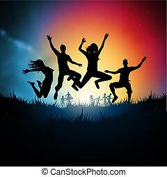 saltar, adultos jóvenes