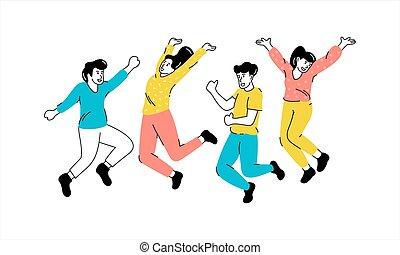 saltar, dibujo, gente, illustrarion, joven