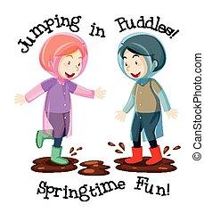 saltar, estilo, dos, aislado, charcos, textos, niños, caricatura, plano de fondo, diversión, primavera, blanco