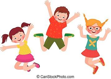 saltar, feliz, aislado, niños