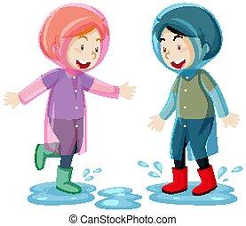 saltar, impermeable, estilo, dos, aislado, charcos, plano de fondo, niños, caricatura, llevando, blanco