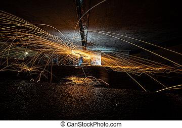 saltar, pintura, fuego, luz, girar, arround, chispas
