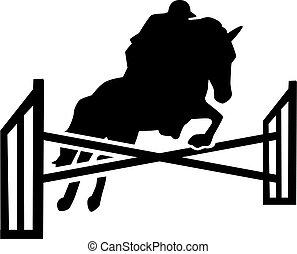 Saltar sobre obstáculos con jinete