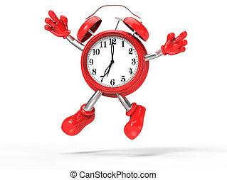 salto, alarma, carácter, reloj