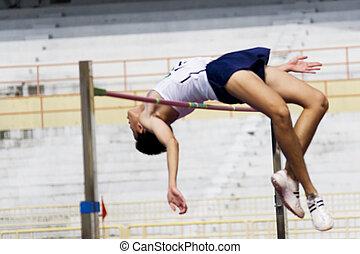 salto de altura, acción, (blurred)
