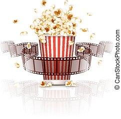 Salto de palomitas de maíz y película de cine