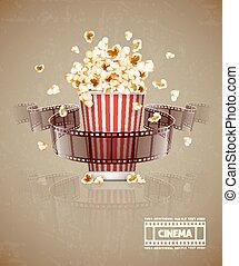 Salto de palomitas y cinta de cine