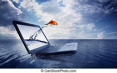 salto, goldfish, afuera, monitor, océano