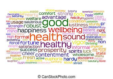 salud, bueno, bienestar, nube, etiqueta