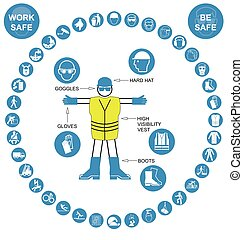 Salud circular Cyan y ico de seguridad