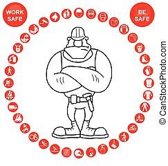 Salud circular roja y icono de seguridad