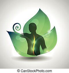 Salud de la columna humana, silueta de la columna humana y hoja verde en el fondo.