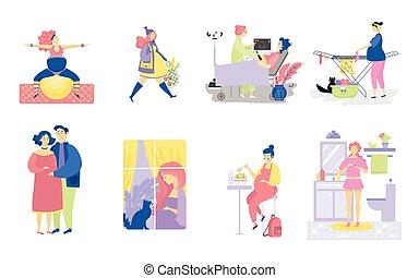 salud, maternidad, muchos, carácter, ilustración, embarazada, aislado, mujeres, caricatura, white., vector, conjunto, joven, embarazo, vistas