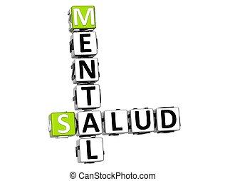 Salud mental 3D (salud mental) crucigrama de fondo blanco