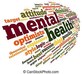 Salud mental en la nube de etiqueta