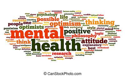 Salud mental en una nube de etiqueta