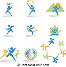 Salud, naturaleza, yoga, iconos sociales