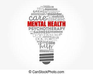 salud, nube, mental, palabra, plano de fondo, concepto, bombilla