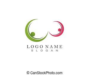 salud, plantilla, comunidad, gente, cuidado, éxito, iconos, vida, logotipo