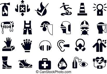 salud, seguridad, iconos, conjunto, workwear