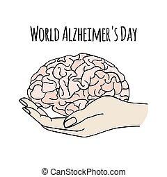 salud, vector, cuidado, mundo, medicina, alzheimer, día, ilustración