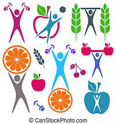 Salud y iconos de comida