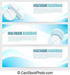Salud y pancartas medicinales