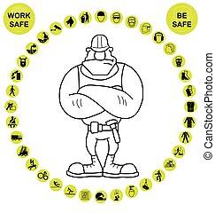 Salud y seguridad circulares amarillas