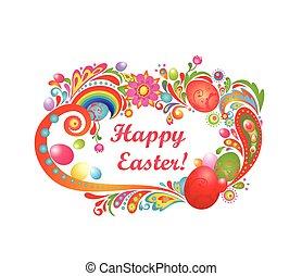 Saludo de Pascua con marco abstracto